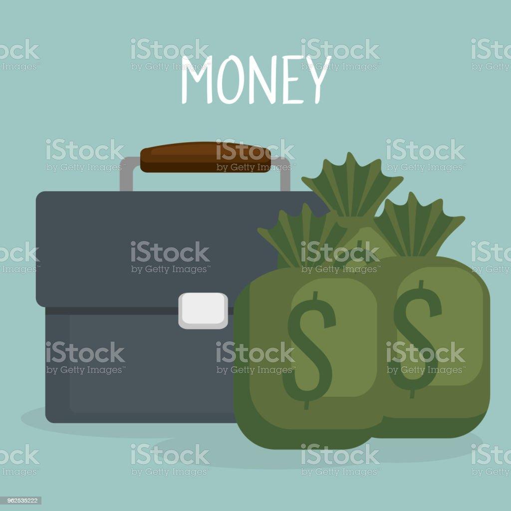 portfolio with money bag - Royalty-free Advertisement stock vector