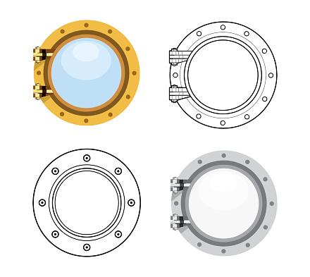 Porthole in flat style. Vector set illustration isolated on white background