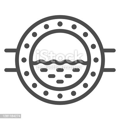 istock Porthole line icon, Sea cruise concept, boat window with waves sign on white background, ship porthole icon in outline style for mobile concept and web design. Vector graphics. 1281184274