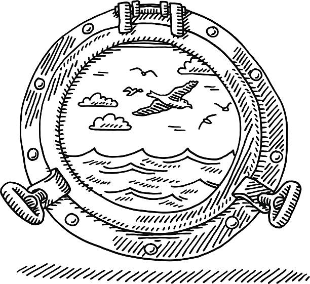 Porthole Seascape Drawing Hand-drawn vector drawing of a Porthole and a Seascape. Black-and-White sketch on a transparent background (.eps-file). Included files are EPS (v10) and Hi-Res JPG. environment stock illustrations