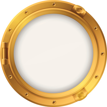 Golden metal porthole detailed illustration. Glass uses transparency effects so elements placed behind the vector will show through. Very user friendly for your projects.