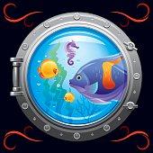 Porthole with underwater life, fishes on black background