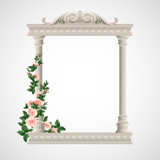 portico eine antike tempel. colonnade. vektor-illustration - gesims stock-grafiken, -clipart, -cartoons und -symbole