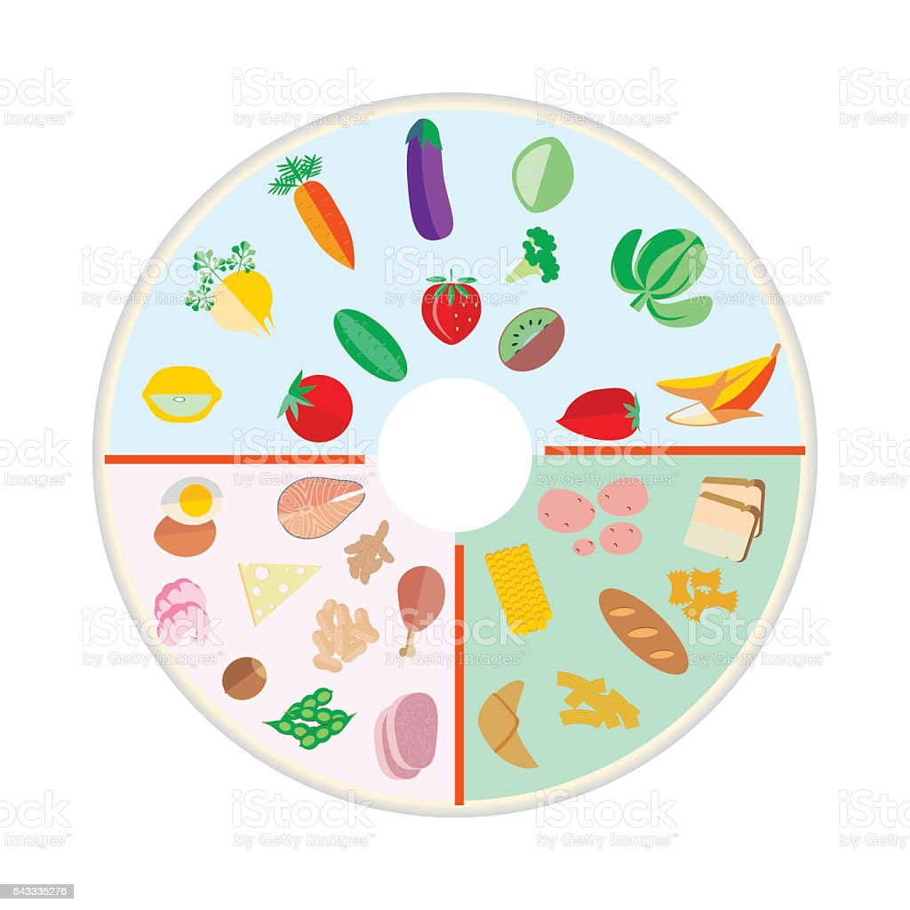 Portion Control plate vector art illustration