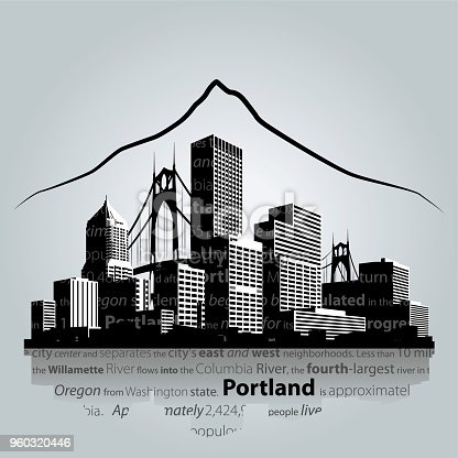 Portland city skyline. Vector illustration