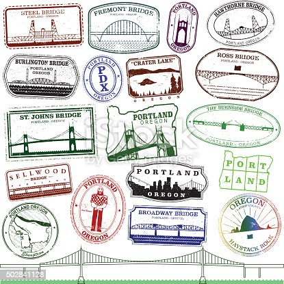Series of stylized retro/vintage passport style stamps of various Portland Oregon landmarks and bridges