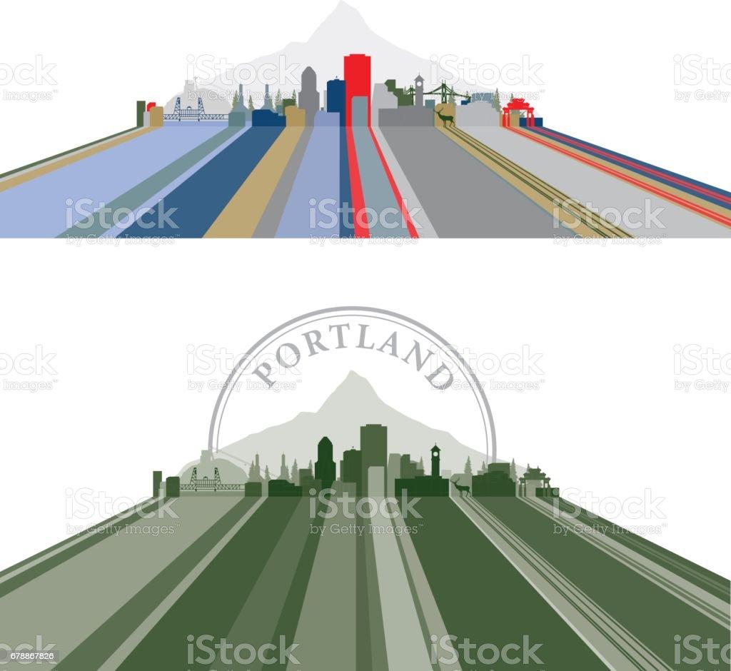 Portland bordée Cityscape portland bordée cityscape – cliparts vectoriels et plus d'images de architecture libre de droits
