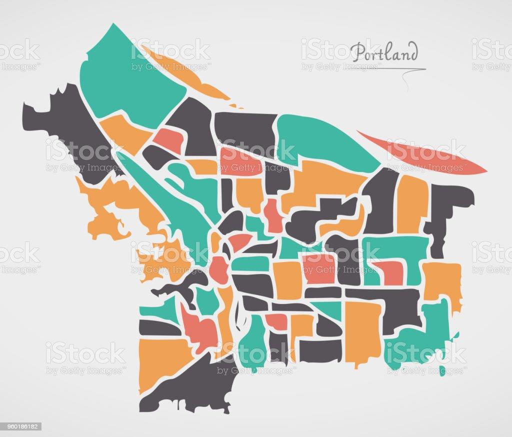 Portland Oregon Karte Mit Nachbarschaften Und Moderne Runde ...