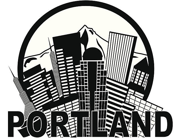 Portland Oregon Skyline Mt Hood Black and White Vector Illustration Portland Oregon Abstract Downtown City Skyline with Mount Hood Black and White Isolated on White Background Vector Illustration black white snow scene silhouette stock illustrations