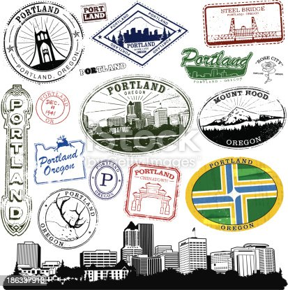 Series of Stylized vintage/retro stamps  of Portland Oregon.  Complete with cityscape and decal.