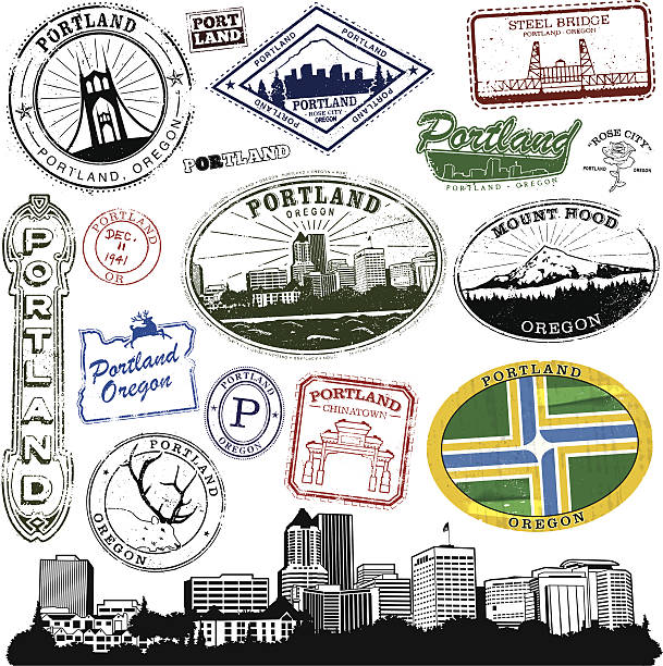 Portland Oregon Stamp Series Series of Stylized vintage/retro stamps  of Portland Oregon.  Complete with cityscape and decal.  mt hood stock illustrations