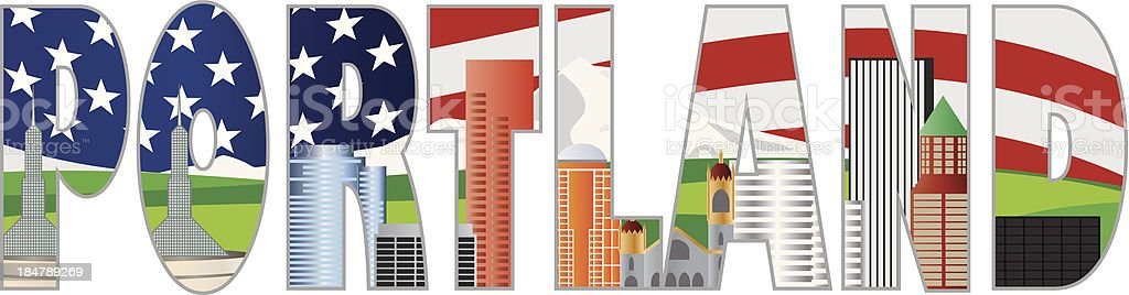 Portland Oregon Text Outline with City Skyline Vector Illustration royalty-free stock vector art