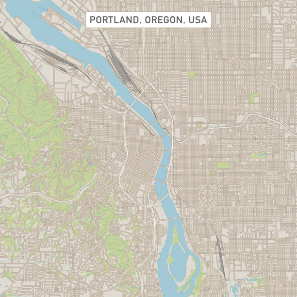 Portland Oregon US City Street Map Vector Illustration of a City Street Map of Portland, Oregon, USA. Scale 1:60,000. All source data is in the public domain. U.S. Geological Survey, US Topo Used Layers: USGS The National Map: National Hydrography Dataset (NHD) USGS The National Map: National Transportation Dataset (NTD) vector map green stock illustrations