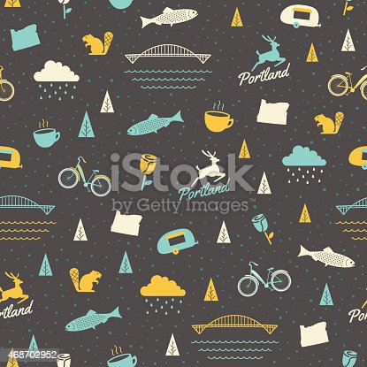 A seamless pattern of Portland, Oregon – featuring everything from bikes to bridges. Ideal for a background image.