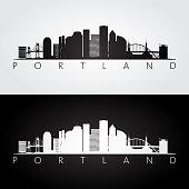 Portland skyline and landmarks silhouette, black and white design.