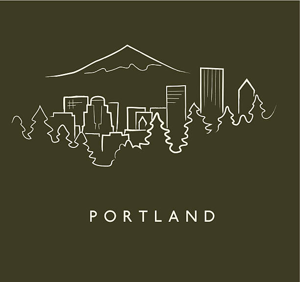 Portland Skyline Sketch Hand drawn sketch of the Portland skyline on green background with text below mt hood stock illustrations