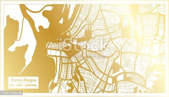 istock Porto Alegre Brazil City Map in Retro Style in Golden Color. Outline Map. 1311734178
