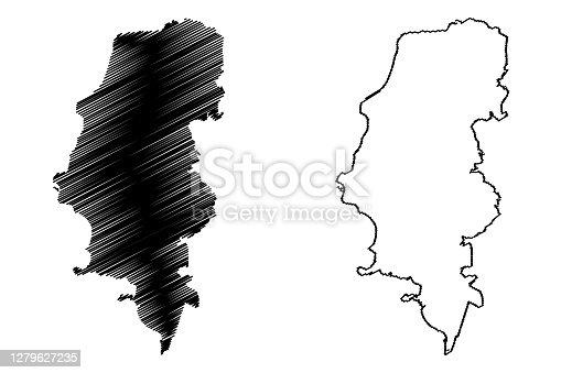 istock Porto Alegre City (Federative Republic of Brazil, Rio Grande do Sul State) map vector illustration, scribble sketch City of Porto Alegre map 1279627235