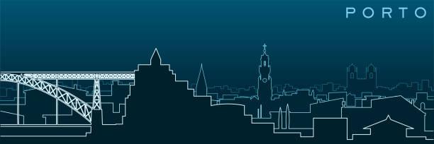 ilustrações de stock, clip art, desenhos animados e ícones de porto multiple lines skyline and landmarks - douro