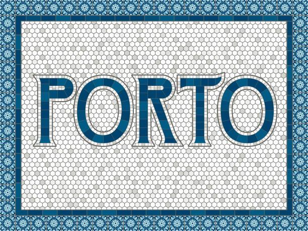 porto old fashioned mosaic tile typography - portugalia stock illustrations