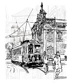 Porto, Portugal tramway by side church of Carmo - vector illustration (Ideal for printing on fabric or paper, poster or wallpaper, house decoration)