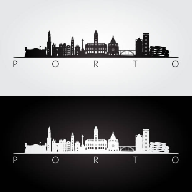 ilustrações de stock, clip art, desenhos animados e ícones de porto skyline and landmarks silhouette, black and white design, vector illustration. - porto portugal