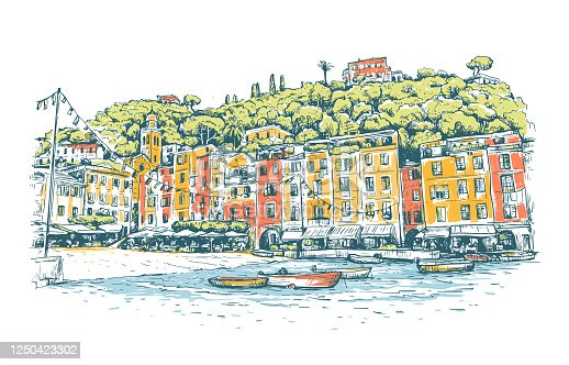 Portofino. Italy. Sketch colorful vector  background with boats, and European houses on sea coast. Bright design for print, publication, postcard, poster, travel banner or card. Horizontal vector drawing