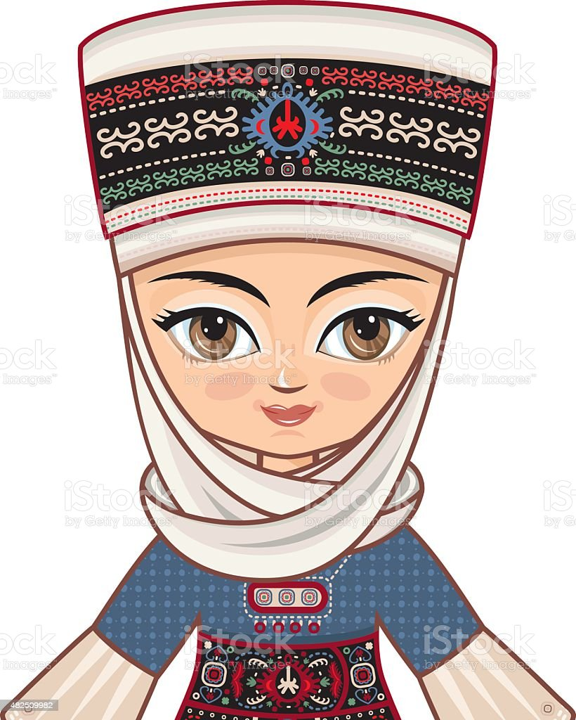 Portrait, avatar. The girl in Kyrgyz dress. Historical clothes. vector art illustration