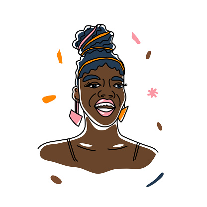Portrait beautiful smile African woman, human rights, fight racism. Line art, minimalism style. Black history month illustration.