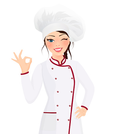 Portrait beautiful smiling young brunette woman cook wearing hat and chef uniform making ok sign gesture looking at the camera. Influencer. Cooking class. Video tutorial
