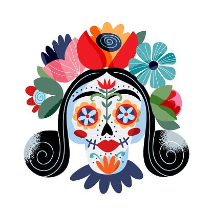 Portrait Catrina La Calavera vector illustration. Festive skeleton female face Dia de los muertos