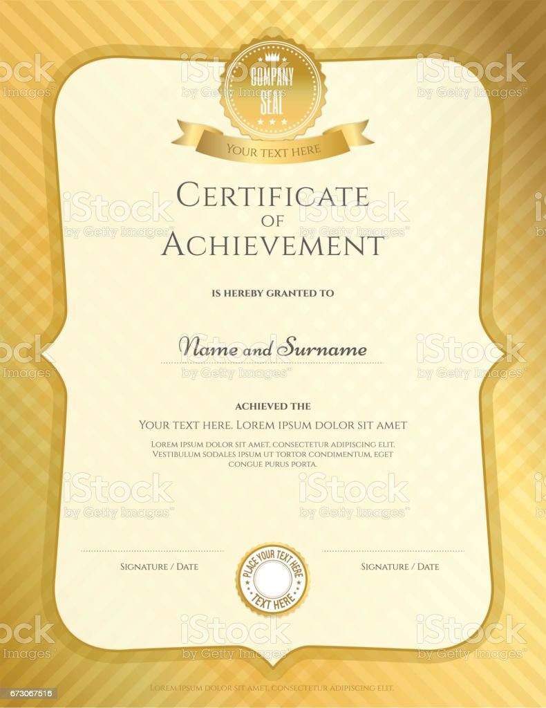 Portrait Certificate Of Achievement Template Royalty Free Portrait  Certificate Of Achievement Template Stock Vector Art  Free Certificate Of Achievement