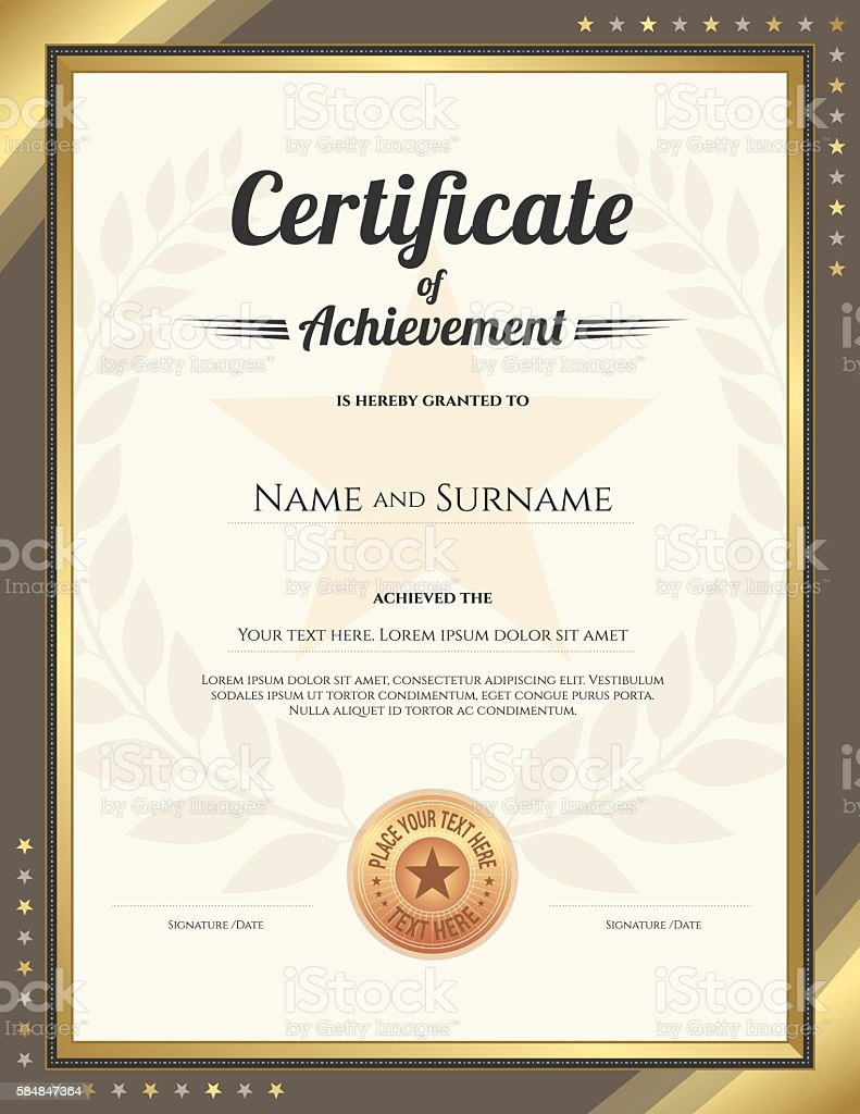 Portrait Certificate Of Achievement Template With Gold Border Stock