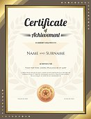 Portrait certificate of achievement template with gold border and awarded wreath and star background