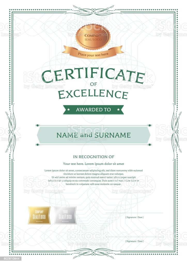 Portrait Certificate Of Appreciation Template With Vintage Border Style  Royalty Free Portrait Certificate Of Appreciation