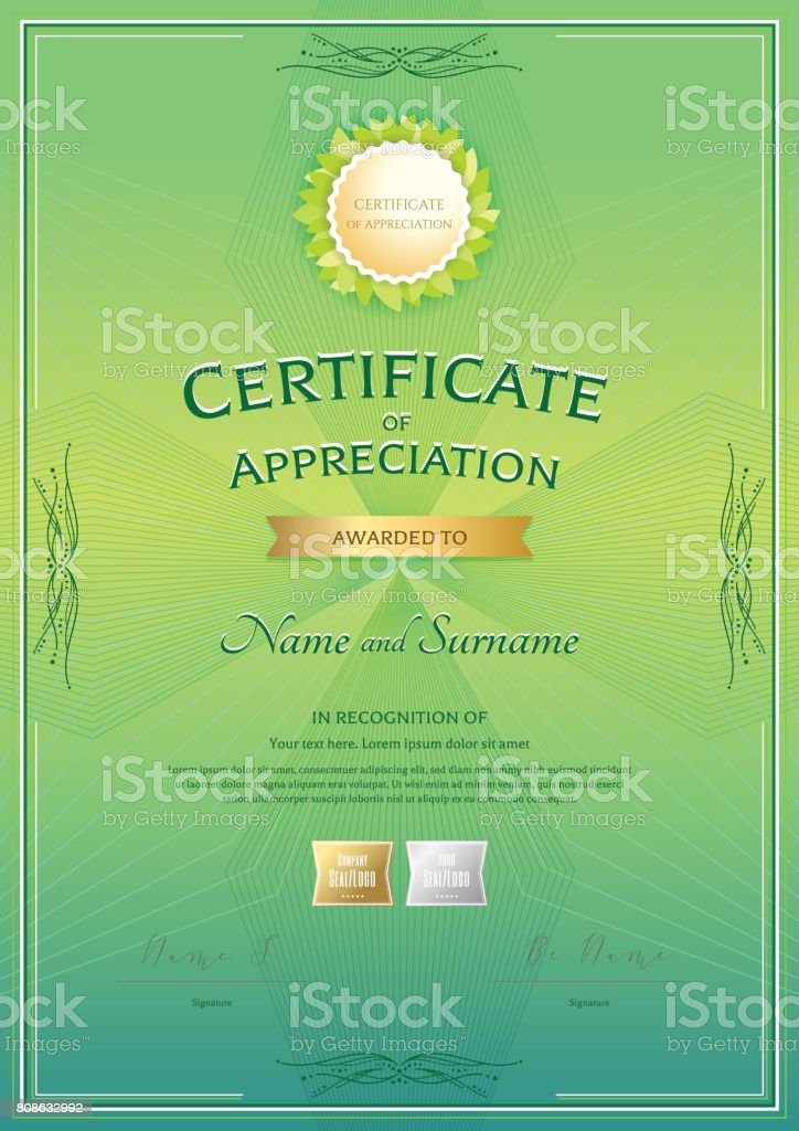 Portrait Certificate Appreciation Template With Vintage