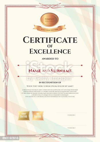 portrait certificate of excellence template with vintage border style stock vector art more images of achievement 693192616 istock