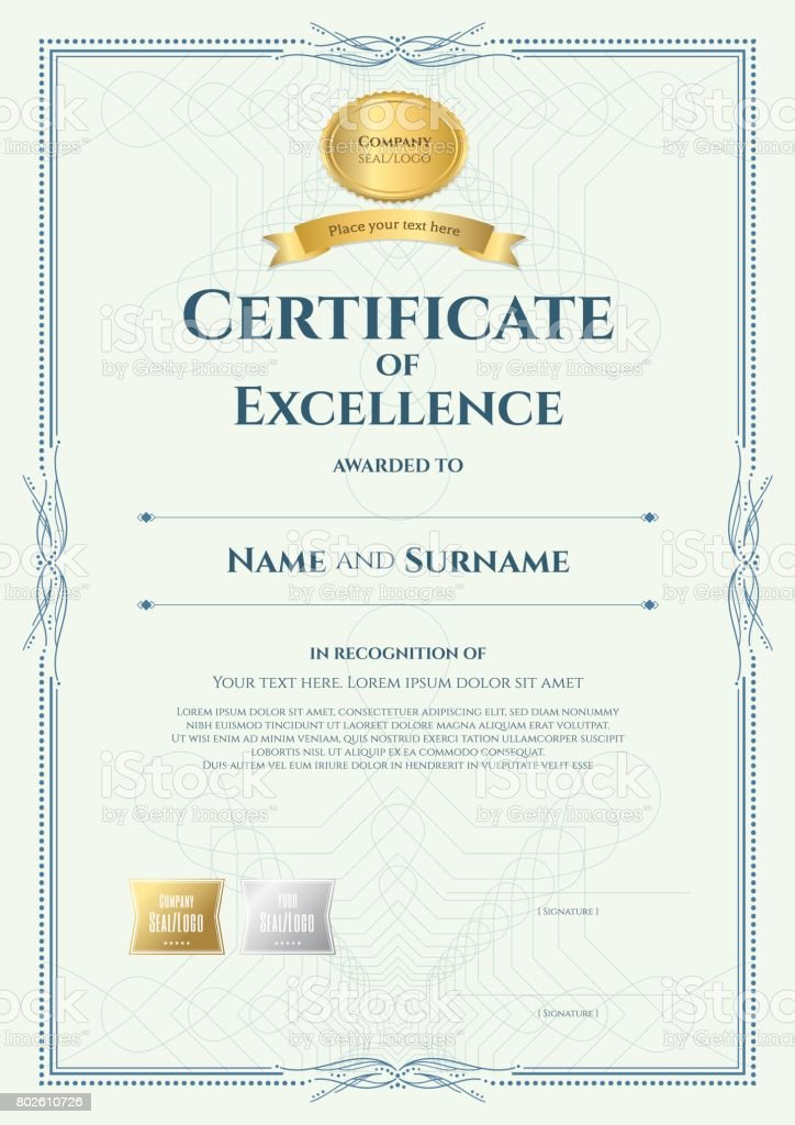 portrait certificate of excellence template with vintage border
