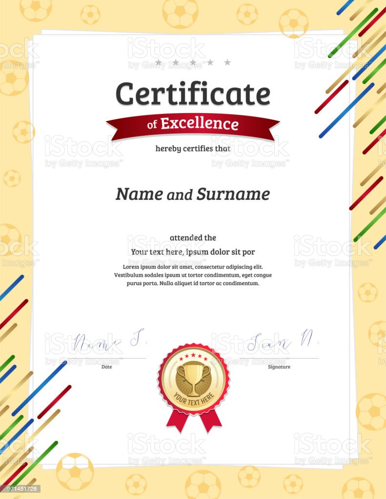 Portrait Certificate Template In Football Sport Theme With Border