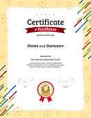 Portrait certificate template in football sport theme with border frame, Diploma design