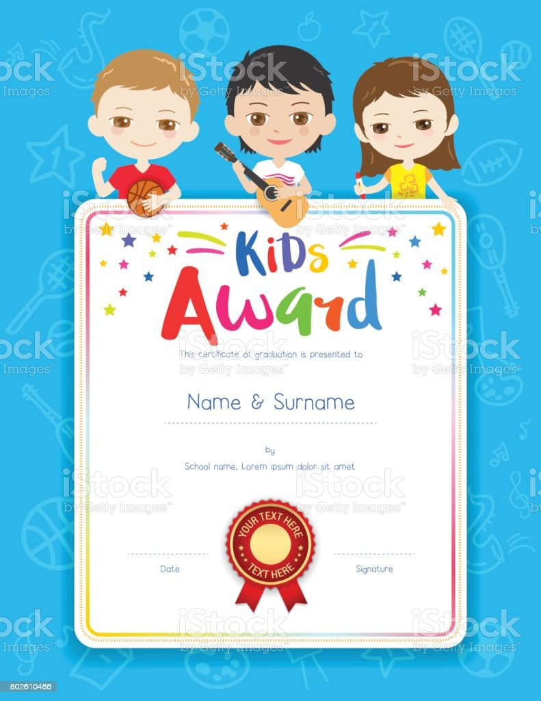 Portrait colorful kids award diploma certificate template in portrait colorful kids award diploma certificate template in cartoon style royalty free stock vector art xflitez Images