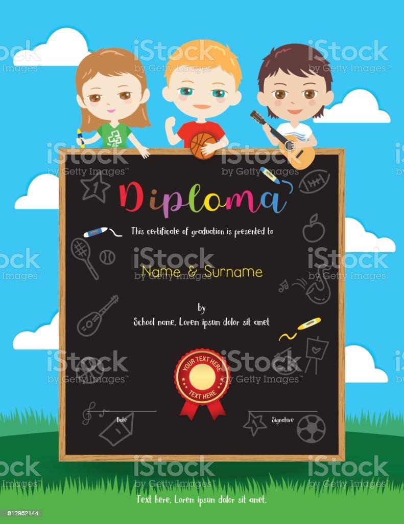 Bunte Kinder Porträt Auszeichnung Diplom Zertifikatvorlage Im ...