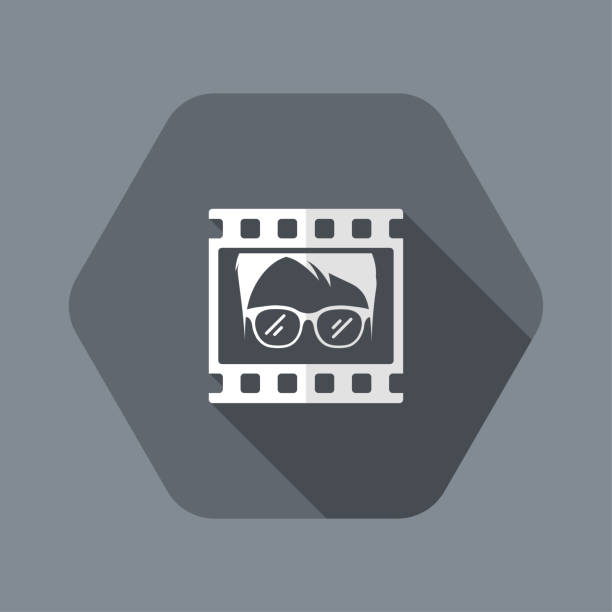 ilustrações de stock, clip art, desenhos animados e ícones de portrait film frame icon - tape face