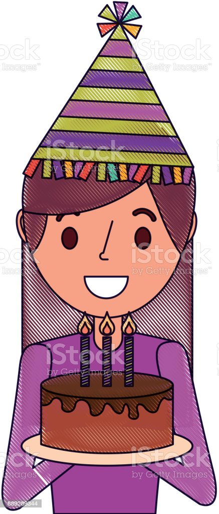 Portrait Happy Woman Holding Birthday Cake Wearing Party Hat Stock Illustration