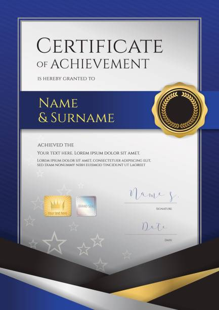 肖像画高級証明書テンプレート卒業または修了のディプロマ デザイン - 証明書と表彰のフレーム点のイラスト素材/クリップアート素材/マンガ素材/アイコン素材