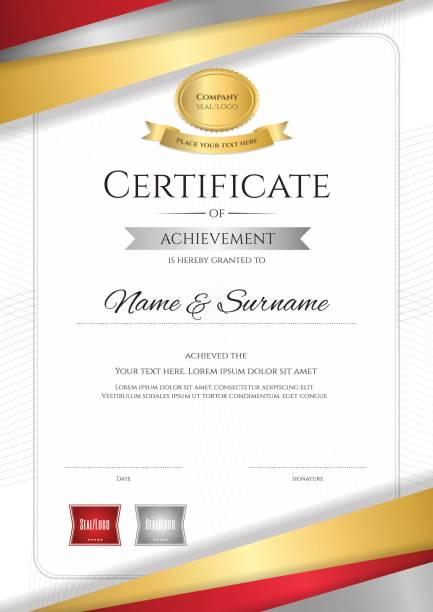 卒業または修了のディプロマ デザイン肖像画高級証明書テンプレート - 証明書と表彰のフレーム点のイラスト素材/クリップアート素材/マンガ素材/アイコン素材