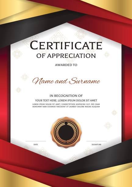 エレガントな黄金赤枠と縦高級証明書テンプレート - 証明書と表彰のフレーム点のイラスト素材/クリップアート素材/マンガ素材/アイコン素材