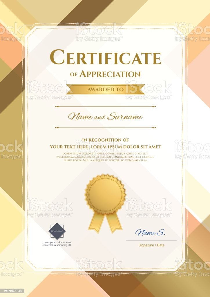 Portrait Modern Certificate Appreciation Template Stock
