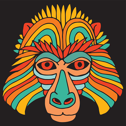Portrait Monkey. Doodle Cartoon Face of Primate on Black Background. Hand Drawn illustration.