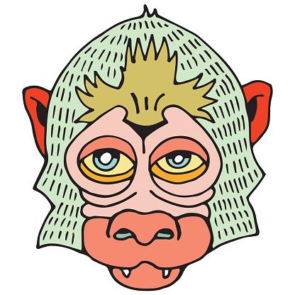 Portrait Monkey. Doodle Cartoon Face of Primate on White Background. Hand Drawn illustration.